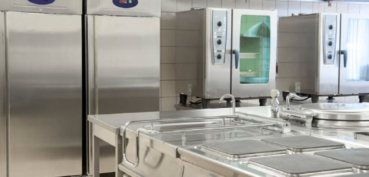 commercial kitchen with refrigeration units